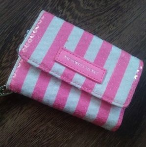 Victoria's Secret Pink White Striped Wristlet